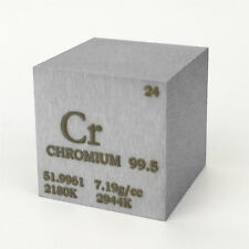 1 inch 25.4mm Chromium Metal Cube 117g 99.5% Engraved Periodic Table of Elements