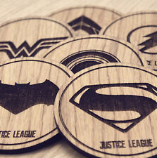 Justice League and DC Comics Inspired Set of 6 Wooden Coasters - Laser cut