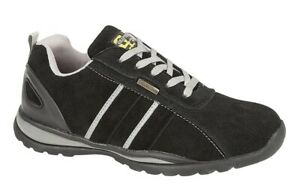 Grafters Mens Safety Shoe Steel Toe Cap Leather Work Trainer Black Size 12