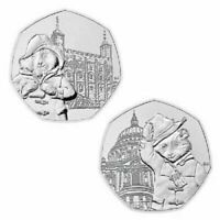 PADDINGTON BEAR SET 2019 - 2 50P COINS UNCIRCULATED FROM SEALED BAGS Free P&P