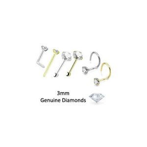 3mm Genuine Real Diamond Nose Ring Stud L Bend Screw Yellow Gold White Gold