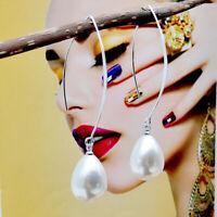 Fashion Women 925 Silver Jewelry Ear hook Pearl Long Drop Dangle Earrings Gift