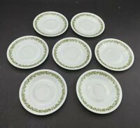 Pyrex Corelle Crazy Daisy Spring Blossom Green Lot Of 7 Saucer Vintage Used Good