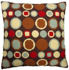 """17"""" x 17"""" Handmade Wool Needlepoint Brown Green Cream Red Dots Pillow"""