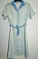 Button Front dress vintage Blue White Circles geometric print Contrast Collar