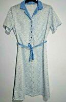 Button Front dress vintage Blue White Circles geometric print Contrast Collar