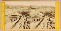 Italia Genoa Il Port c1865 Foto Stereo Vintage Albumina