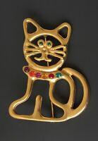 Adorable  vintage outline  large Cat  Brooch gold tone metal