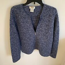 New Talbots Hand Knit 100% Merino Wool Sweater Jacket Zip Up Blue Size XL