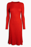 NEXT Red Pleated Stretch Long Sleeve Knitted Jumper Skater Dress Size 14