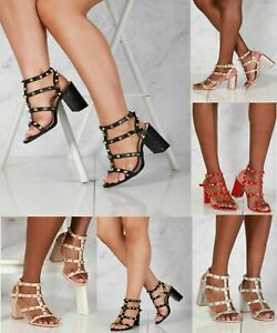 New Ladies Ankle Strap Strappy Studded Party High Block Heel Sandals Sizes 3-8