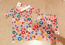 Pink Flowers All in Bloom Short John Pajamas Girls New Hanna Andersson 6-7 120