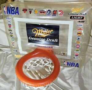 Vintage 1990 NBA Miller Promo Inflatable Game Hoop Shot Basketball Man Cave Pool