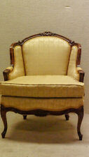 Walnut French Living Room Club Chair 19th Century Newly Upholstered & Restored