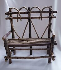 "Rustic Vine Twig Wood Heart Trim Bench for Doll Bear 12""H x 12 1/2"" W x 6 1/2"" D"