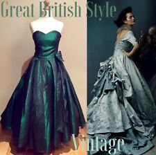 LAURA ASHLEY DRESS VINTAGE GREEN TAFFETA EVENING PARTY SIZE 6-8 UK VICTORIAN