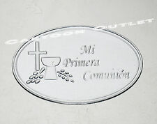 12 X COMUNION EMBOSSED TIN SIGN SILVER STICKERS SIGN  FAVORS SCRAPBOOKING DECOR