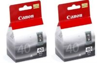 2  x Genuine Canon PG 40 PG-40 Black Printer Ink Inkjet Twin Black