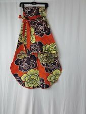 "Womens African Ankara Kitenge Print High Waist 24""Skirt High-Low Wit Belt SIZE 2"