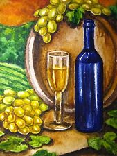 Watercolor Painting Wine Barrel Glass Bottle Alcohol Drink Grapes Farm ACEO Art