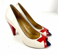 Seychelles Open Toe High Heels Ivory, Red, Blue Leather Pumps - Size 8