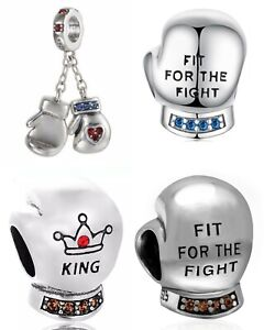Boxing Glove Gloves Fight Genuine 925 Sterling Silver Charm Bead Fits Bracelet