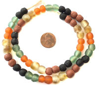 Transparent matte Mixed Ghana Round Krobo Recycled Glass African trade beads