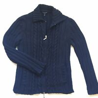 Escada Sport Size Large Navy Blue Zip Up Thicker Cardigan Sweater Jacket FLAW