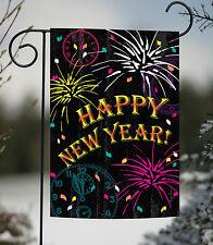 Toland New Year Celebration 12.5 x 18 Colorful Happy Fireworks Garden Flag