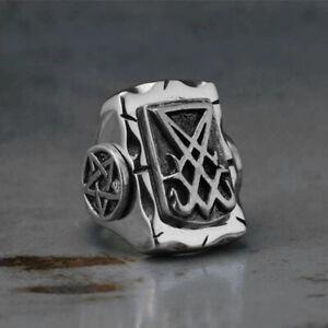 Stainless Steel Sigil of Lucifer Pentagram Seal Satan Baphomet Satanic Punk Ring