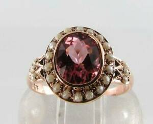 RARE 9CT 9K ROSE GOLD 9mm x 7mm AAA PINK TOURMALINE PEARL RING FREE RESIZE