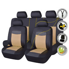 Universal Car PU Leather Seat Covers Set Black Beige Cushions Front Rear 11 PCS