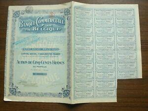 Banque Commerciale de Belgique Bond 500 Francs 1919