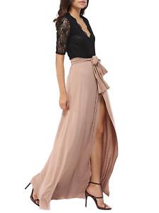 elegante abito cerimonia da donna vestito lungo damigella scollo a V festa party