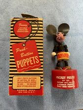 New listing Vintage Kohner Mickey Mouse Push Button Puppet Walt Disney Toy #185 Works W/Box