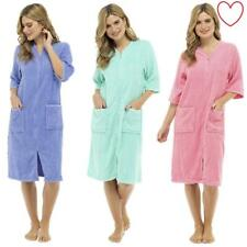 Zip Womens Terry Towelling Dressing Gown Button Through Bath Robe 8-22