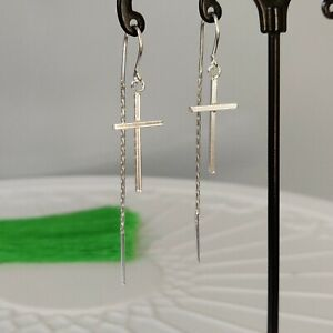 Solid 925 Sterling Silver Cross Hook Chain Pull Through Threader Earrings