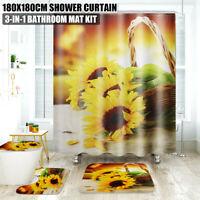 4X Sunflower Decor Bathroom Rug Bath Mat Toilet Seat Lid Cover + Shower Curtain