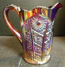 Vintage Indiana Amberina Carnival Glass Pitcher Sunburst Pattern Excellent Cond