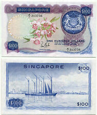 SINGAPORE 100 DOLLAR ND 1967 P 6 a ORCHID L.K. SAN A/1 XF SEE SCAN
