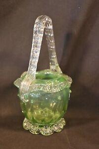 Victorian Antique Art Glass Webb or Stevens and Williams Thorn Handled Basket