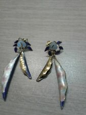 """sterling silver enamel earrings, pea in the pod, great condition, 2"""" long, 7.6g"""
