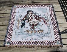 Snowman Heidi Satlerberg Woven THROW BLANKET Tapestry 51 x 57