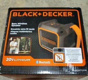 Black & Decker BDBTS20B 20V MAX Wireless Bluetooth Speaker with Adapter NEW