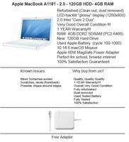 Apple MacBook A1181 13'' 2.0GHz / 120GB HD / 4GB RAM / Mojave MacOS / B-!