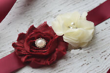 Small Ivory burgundy Sash, flower Belt, maternity sash, wedding sash