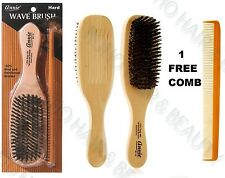 "ANNIE 100% BOAR & REINFORCED BRISTLE HAIR /WAVE BRUSH 8 1/2"" HARD 2116 FREE COMB"
