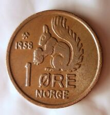 1958 NORWAY ORE - SQUIRREL COIN - Early Date - FREE SHIPPING - Norway Bin #5