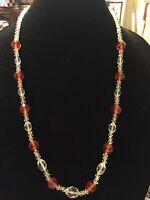 "Vintage Crystal Multicolor Beaded Necklace 28"""