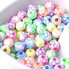 Lot 20 Perles Rond Fleur 8mm Couleur mixte Fleurs Creation bijoux, colliler